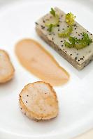 Europe/France/Bretagne/29/Finistère/Brest: Gâteau de cèleri à la truffe noire, noix de Saint-Jacques roties, jus au poivre de Sechuan,  recette d' Yvon Morvan restaurant: L'Armen