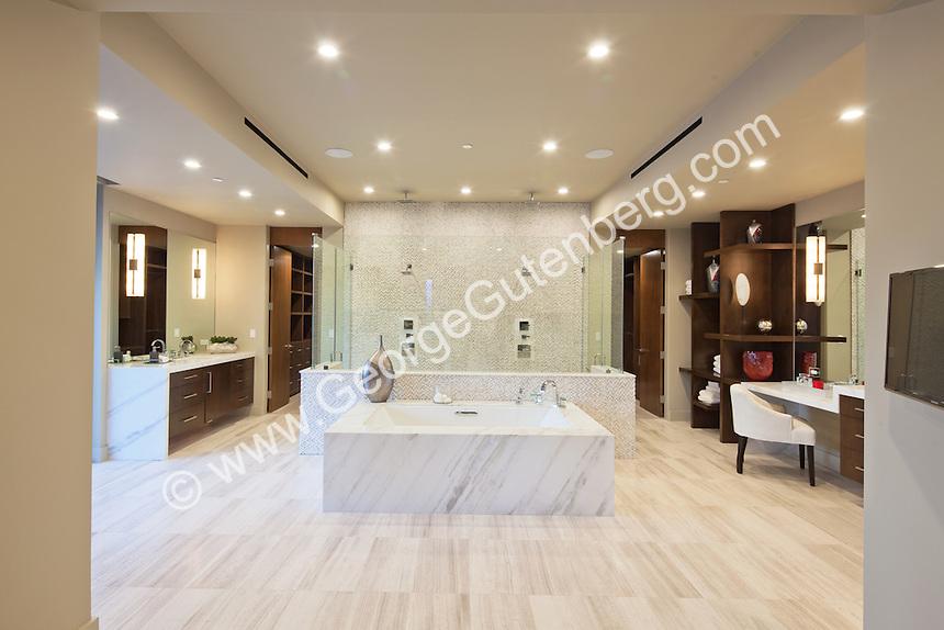 Stock photo of large luxury master bath with double shower