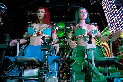 November 20, 2012, Tokyo, Japan - The Robot Restaurant show of electric lights, tanks and giant female robots controlled by sexy women is held twice a day in Kabukicho, one of the most famous entertainment districts in Tokyo. The 4000 Yen entrance fee (around USD 48.00) covers the food, one drink, service charge and the almost two-hours long show itself. Sexy Japanese girls riding giant female robots in leather suits are the main event, but the audience can also enjoy girls playing taiko drums, riding motor bikes and tanks, and a marching band. Built at a cost of 10 Billion Yen (around USD 127 million), the Robot Restaurant opened in Kabukicho on July 18, 2012, and now attracts customers from all over the world. (Photo by Rodrigo Reyes Marin/Nippon News)