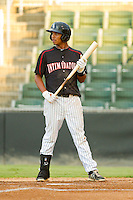Cleuluis Rondon (13) of the Kannapolis Intimidators at bat against the Lakewood BlueClaws at CMC-Northeast Stadium on August 13, 2013 in Kannapolis, North Carolina.  The Intimidators defeated the BlueClaws 12-8.  (Brian Westerholt/Four Seam Images)