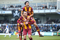 Charlie Wyke of Bradford City celebrates with Tim Dieng of Bradford City after scoring a penalty during the Sky Bet League 1 match between Bristol Rovers and Bradford City at the Memorial Stadium, Bristol, England on 20 January 2018. Photo by Thomas Gadd.