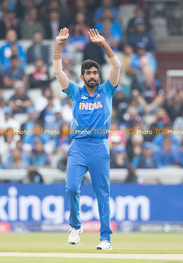 Jasprit Bumrah (India) goes close during India vs New Zealand, ICC World Cup Semi-Final Cricket at Old Trafford on 9th July 2019