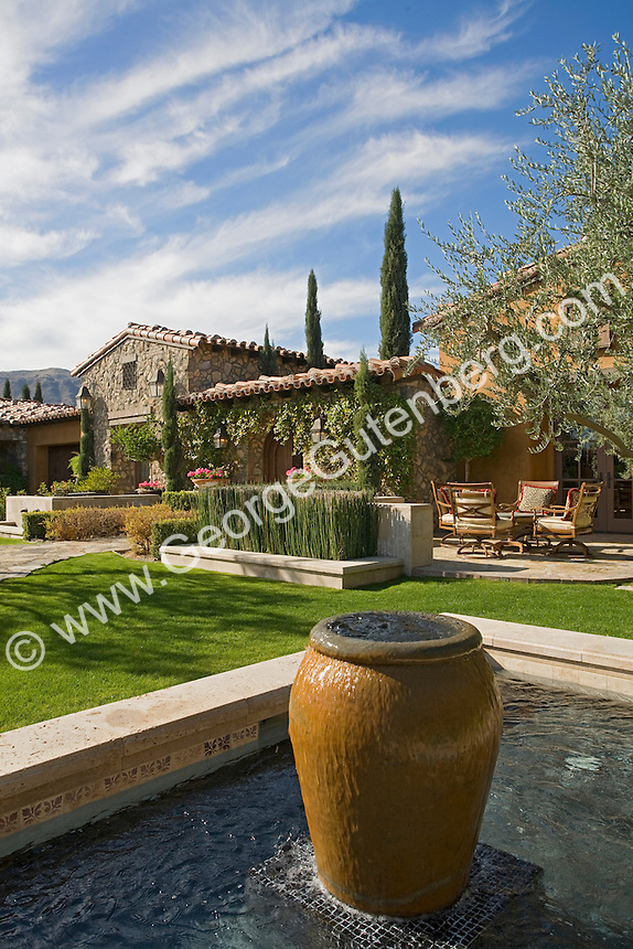 Beautiful garden with waterfeatures and stone pathways