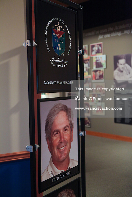 A photo of Fred Couples, 2013 inductee to the World Golf Hall of Fame, is seen at the museum entrance in St. Augustine, Florida Friday April 26, 2013. Located in The World Golf Village, the World Golf Hall of Fame features exhibits on the game's history, heritage, and techniques and a Hall of Fame.