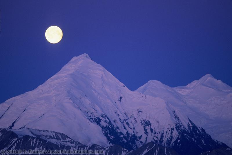 Full Moon over Mt Brooks, the Alaska mountain range, Denali National Park, Alaska