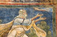 Italien, Umbrien, Kloster San Pietro in Valle im Neratal, Fresken aus dem 12.Jh., Noah empfängt die Anweisung Gottes
