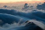 Hi winds at sunset on top of Haleakala Crater, Maui Hawaii.