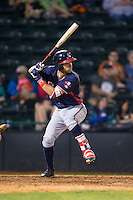 Alejandro Salazar (7) of the Rome Braves at bat against the Hickory Crawdads at L.P. Frans Stadium on May 12, 2016 in Hickory, North Carolina.  The Braves defeated the Crawdads 3-0.  (Brian Westerholt/Four Seam Images)