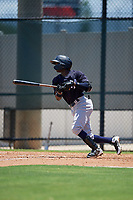 GCL Yankees East Angel Rojas (20) bats during a Gulf Coast League game against the GCL Phillies West on August 3, 2019 at the Carpenter Complex in Clearwater, Florida.  The GCL Yankees East defeated the GCL Phillies West 4-0, the second game of a doubleheader.  (Mike Janes/Four Seam Images)