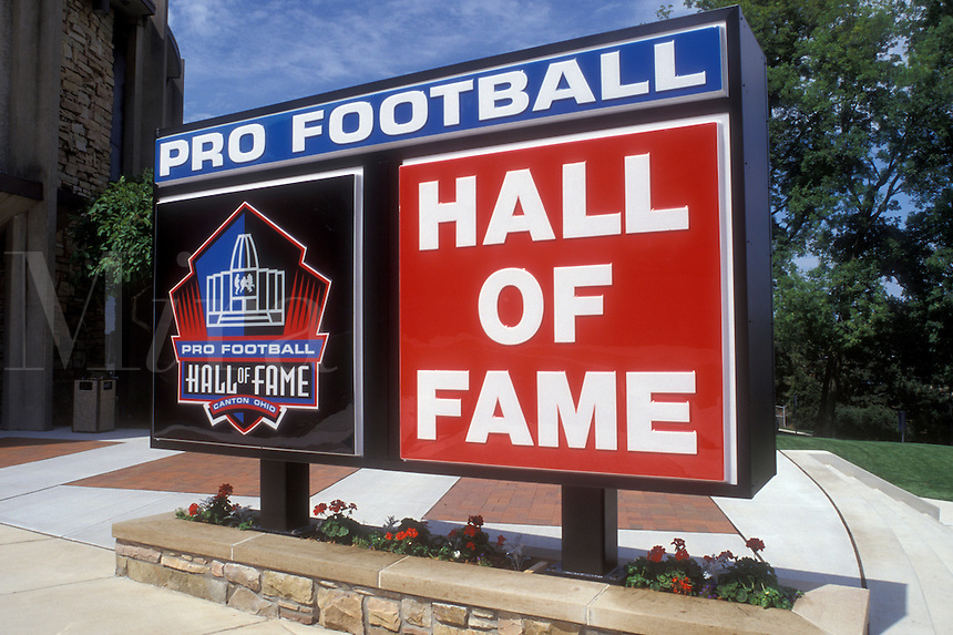Ohio, Canton, football, hall of fame, The large red and blue sign stands in front of the entrance to the Pro Football Hall of Fame in Canton.