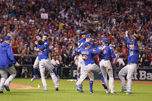 02.11.2016. Cleveland, OH, USA.  Chicago Cubs, Carl Edwards (6), Javier Baez (9), Chris Coghlan (8), Kris Bryant (17), Addison Russell (27) and Anthony Rizzo (44) celebrate after winning game 7 of the 2016 World Series against the Chicago Cubs and the Cleveland Indians at Progressive Field in Cleveland, OH. Chicago defeated Cleveland 8-7 in 10 innings.