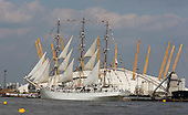 London, UK. 9 September 2014. The The Polish tall ship Dar Mlodziezy at the Millennium Dome. Tall Ships that have taken part in the Royal Greenwich Tall Ships Festival 2014 leave Greenwich in a Parade of Sail down the River Thames.