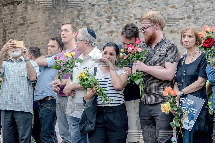 People attend a vigil for victims of the Finsbury Park mosque terrorist attack. On 19 June 2017 a van, allegedly by driven by Darren Osborne who is currently in custody, was deliberately driven into worshippers leaving the mosque, killing one man and injuring 10 others.