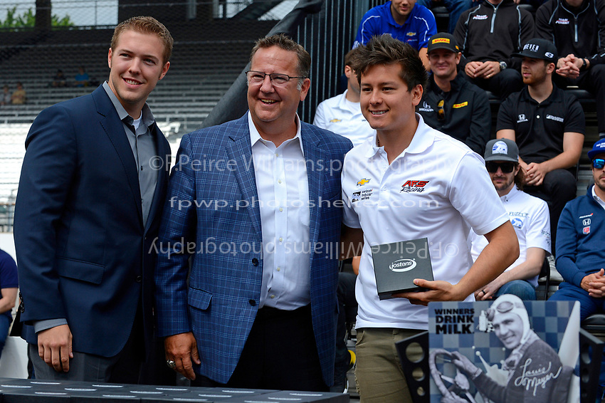Verizon IndyCar Series<br /> Indianapolis 500 Drivers Meeting<br /> Indianapolis Motor Speedway, Indianapolis, IN USA<br /> Saturday 27 May 2017<br /> Starter's ring presentation: Sebastian Saavedra, Juncos Racing Chevrolet<br /> World Copyright: F. Peirce Williams