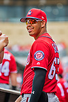 24 February 2019: Washington Nationals top prospect infielder Luis Garcia in the dugout prior to a Spring Training game against the St. Louis Cardinals at Roger Dean Stadium in Jupiter, Florida. The Nationals defeated the Cardinals 12-2 in Grapefruit League play. Mandatory Credit: Ed Wolfstein Photo *** RAW (NEF) Image File Available ***