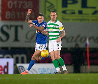 29th January 2020; McDairmid Park, Perth, Perth and Kinross, Scotland; Scottish Premiership Football, St Johnstone versus Celtic; Scott Brown of Celtic challenges for the ball with Callum Hendry of St Johnstone