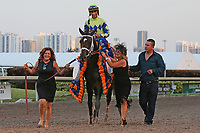 HALLANDALE BEACH, FL - APRIL 01:  John Velazquez with Always Dreaming heading into the winners circle after winning the Grade I Xpressbet Florida Derby. Scenes from  Florida Derby Day at Gulfstream Park on April 01, 2017 in Hallandale Beach, Florida. (Photo by Liz Lamont/Eclipse Sportswire/Getty Images)