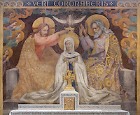 Coronation of the Virgin by the Holy Trinity, by Paul Baudoüin and Louis Dussour between 1926 and 1937, altar of the virgin, Nanterre Cathedral (Cathédrale Sainte-Geneviève-et-Saint-Maurice de Nanterre), 1924 - 1937, by architects Georges Pradelle and Yves-Marie Froidevaux, Nanterre, Hauts-de-Seine, France. Picture by Manuel Cohen