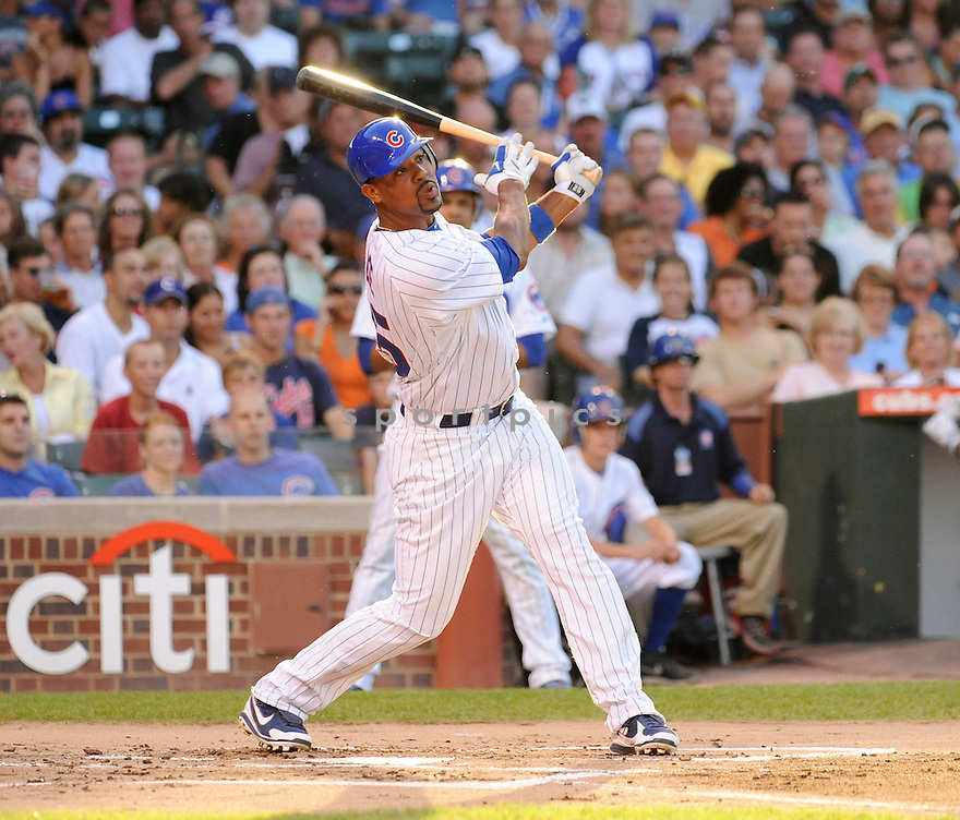 DERREK LEE, of the  Chicago Cubs, in action during the Cubs  game against the  Philadelphia Phillies  in Chicago, IL on July 18, 2010.  The Cubs won the game 11-6.