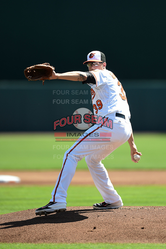 Baltimore Orioles pitcher Kevin Gausman (39) during a Spring Training game against the Detroit Tigers on March 4, 2015 at Ed Smith Stadium in Sarasota, Florida.  Detroit defeated Baltimore 5-4.  (Mike Janes/Four Seam Images)