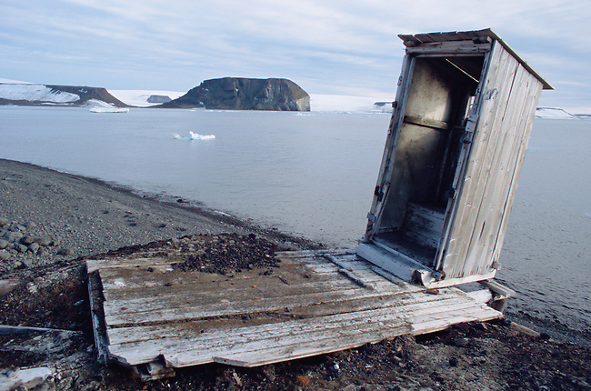 The remains of an outside toilet at the old polar station at Tichaya Bay. Hooker Island, Franz Josef Land, Russia.