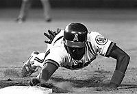 Mark McLemore of the California Angels during a 1989 season game at Anaheim  Stadium in Anaheim,California.(Larry Goren/Four Seam Images)