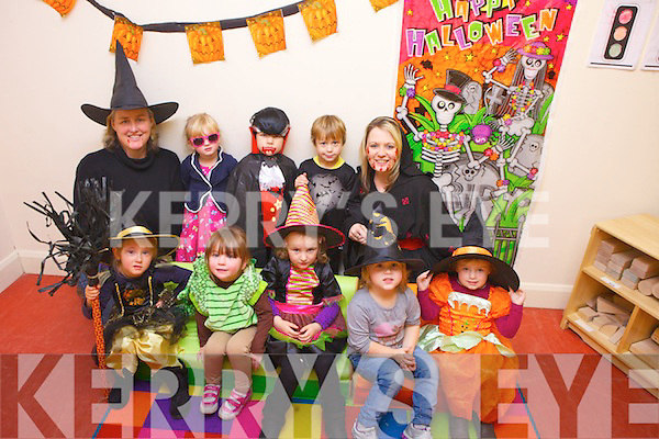 Enjoying Halloween on Thursday were the children from the preschool in the Listowel Family Resource Centre. From front l-r were: Maria Kolat, Lilith Murphy, Saoirse Purcell, Sarah Bajzat and Willow O'Carroll. Back l-r were: Claire Creighton, Ava Sheehy, Kajus Mikulskis, Aaron Bajzat and Pamela Brassil.