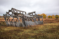Skeletal remains of an old barn in Mormon Row Grand Teton National Park in Wyoming.