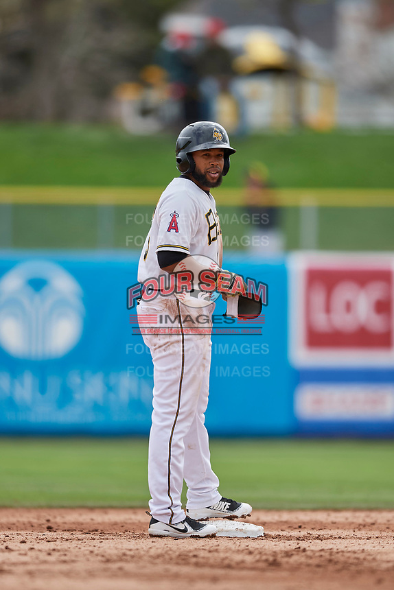 Sherman Johnson (5) of the Salt Lake Bees stands at second base against the Albuquerque Isotopes at Smith's Ballpark on April 8, 2018 in Salt Lake City, Utah. Albuquerque defeated Salt Lake 11-4. (Stephen Smith/Four Seam Images)