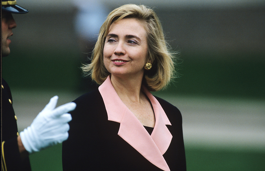 First Lady Hillary Clinton attends the christening of the USS Columbia submarine in New London, CT.
