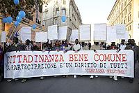 """Roma, 26 Novembre 2011.Manifestazione nazionale per il rispetto dell'esito referendario sull'acqua, organizzata dal Forum italiano dei movimenti per l'acqua.La """"campagna Welcome"""" con i migranti di Rosarno"""