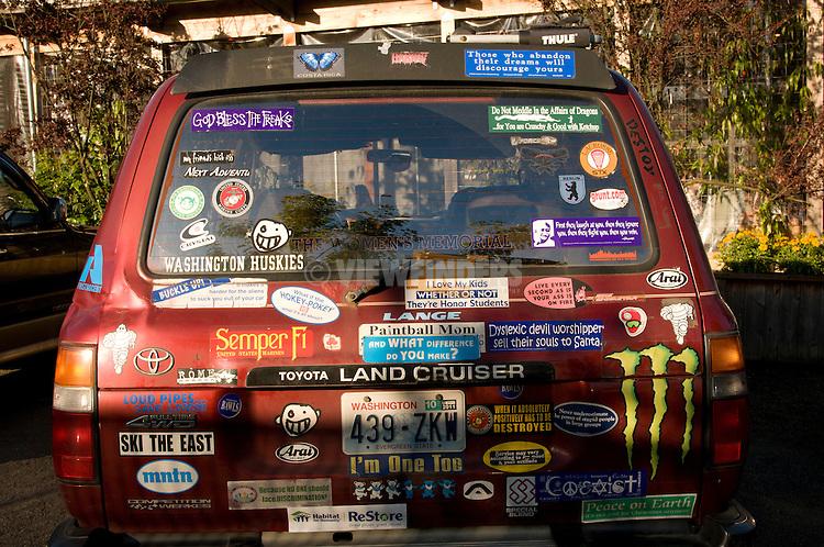 SUV Covered in Bumper Stickers, Washington