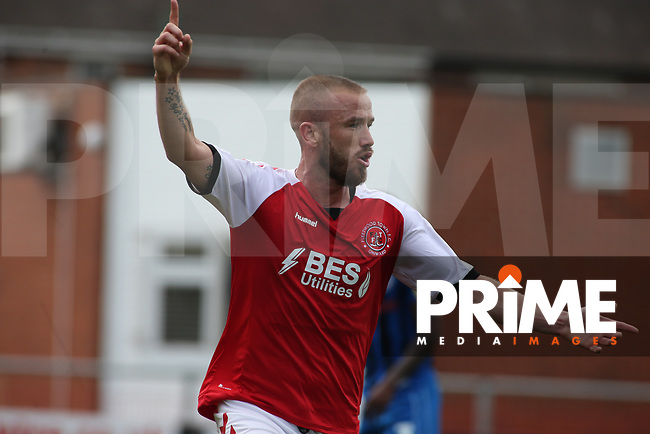 Patrick Madden of Fleetwood Town celebrates scorning the 1st goal of the game against Rochdale AFC during the Sky Bet League 1 match between Fleetwood Town and Rochdale at Highbury Stadium, Fleetwood, England on 18 August 2018. Photo by Stephen Gaunt / PRiME Media Images.