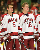 Danny Biega (Harvard - 9), Alex Fallstrom (Harvard - 16) - The Boston University Terriers defeated the Harvard University Crimson 6-5 in overtime on Tuesday, November 24, 2009, at Bright Hockey Center in Cambridge, Massachusetts.