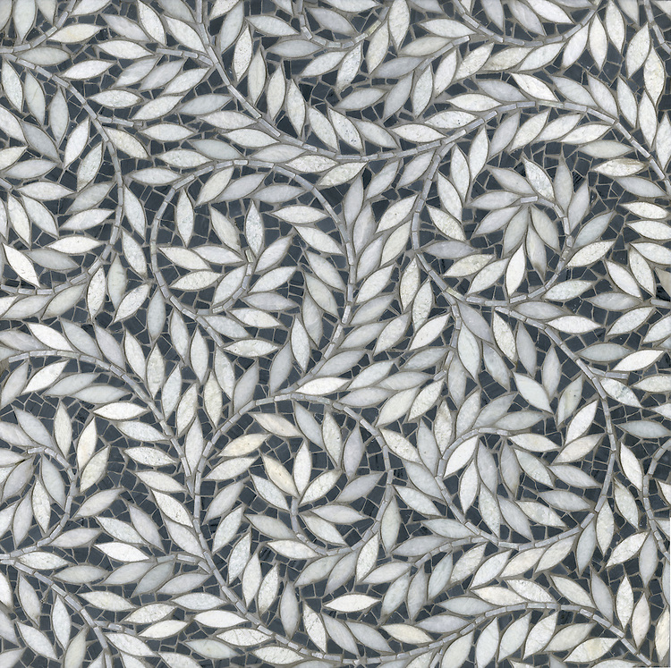 Jacqueline Vine with Cosmos, a hand-cut and waterjet stone mosaic, shown in polished Lettuce Ming and honed Bardiglio, is part of the Silk Road® collection by New Ravenna.