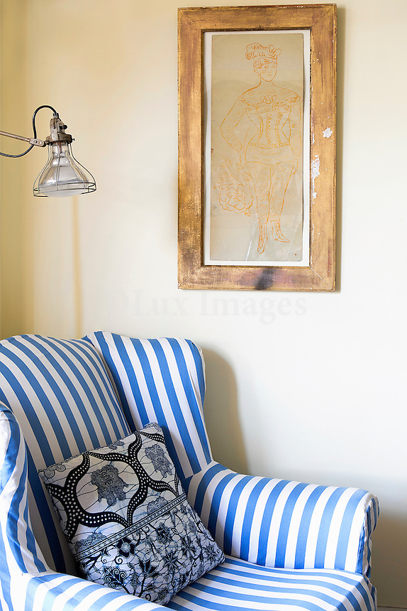 Armchair with blue and white stripes