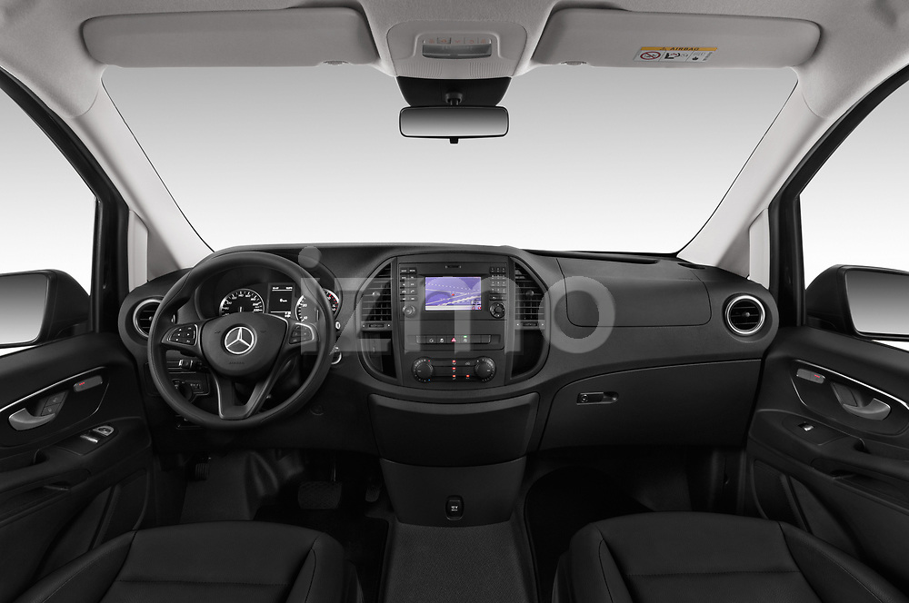 Stock photo of straight dashboard view of a 2018 Mercedes Benz Vito Mixto Perfect Tool 4 Door Combi