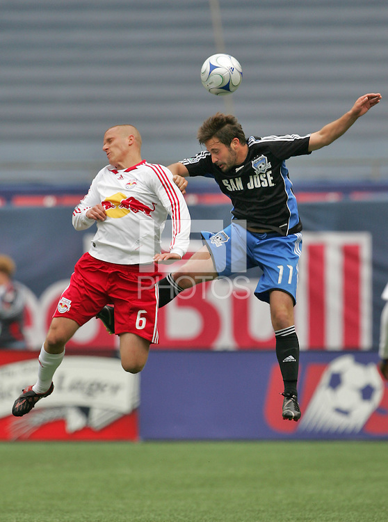 New York Red Bulls' Seth Stammler (6) fights San Jose Earthquakes' Ned Grabavoy (11) for a header in the first half of an MLS soccer match at Giants Stadium in East Rutherford, N.J. on Sunday, April 27, 2008. The Red Bulls defeated the Earthquakes 2-0.