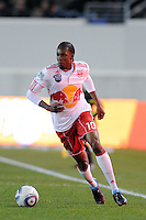 Macoumba Kandji (10) of the New York Red Bulls during the first half of a Major League Soccer match between the New York Red Bulls and the Chicago Fire at Red Bull Arena in Harrison, NJ, on March 27, 2010. The Red Bulls defeated the Fire 1-0.