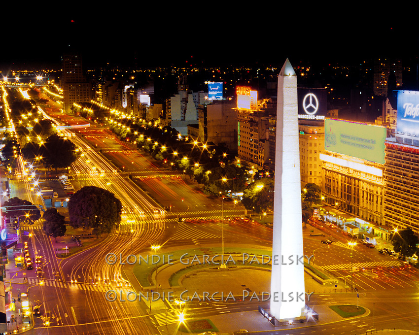 The Obelisk Tower, the widest avenue in the world, Buenos Aires, Argentina, South America