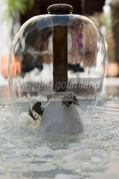 Afrique/Afrique du Nord/Maroc/Fèz: Riad Sheherazade 23 Arsat Bennis Douh dans la médina détail de la fontaine du patio