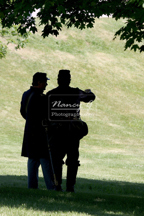 US Civil War soldiers under a tree reenacting at the Milwaukee VA grounds