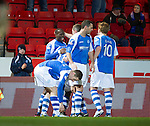 St Johnstone v Aberdeen.....30.01.13      SPL.Gregory Tade celebrates his goal.Picture by Graeme Hart..Copyright Perthshire Picture Agency.Tel: 01738 623350  Mobile: 07990 594431