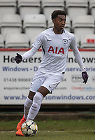Edmond-Paris Maghoma of Spurs U19 during the UEFA Youth League round of 16 match between Tottenham Hotspur U19 and Monaco at Lamex Stadium, Stevenage, England on 21 February 2018. Photo by Andy Rowland.