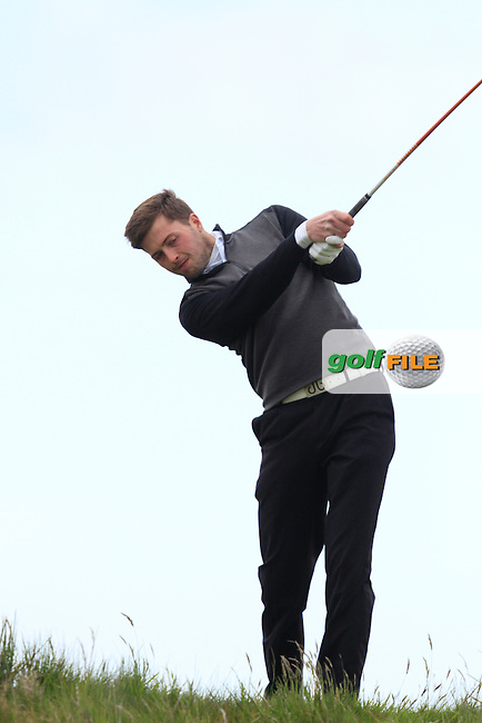 Damon Coulson (England) on the 14th tee during Round 3 of the Irish Amateur Open Championship at Royal Dublin on Saturday 9th May 2015.<br /> Picture:  Thos Caffrey / www.golffile.ie