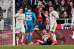 Atletico de Madrid's Alvaro Morata and Real Madrid's Carlos Henrique Casemiro during La Liga match between Atletico de Madrid and Real Madrid at Wanda Metropolitano Stadium in Madrid, Spain. February 09, 2019. (ALTERPHOTOS/A. Perez Meca)