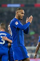 Kenneth Zohore of Cardiff City celebrates scoring his side's third goal during the Sky Bet Championship match between Cardiff City and Leeds United at the Cardiff City Stadium, Cardiff, Wales on 26 September 2017. Photo by Mark  Hawkins / PRiME Media Images.