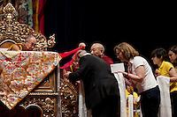 Milano: il Dalai Lama Tenzin Gyatso durante la giornata di preghiera al Forum di Assago..Milan: il Dalai Lama Tenzin Gyatso