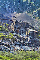 The gold processing mill is falling into ruin at Independence Mine State Historical Park, in the Hatcher Pass area about 50 miles north of Anchorage, Alaska.