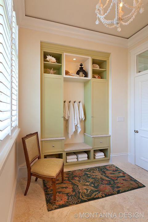Just like at the spa, The Pool Bath has a delightful built in cabinet for pool towels, lockers for guest items and display